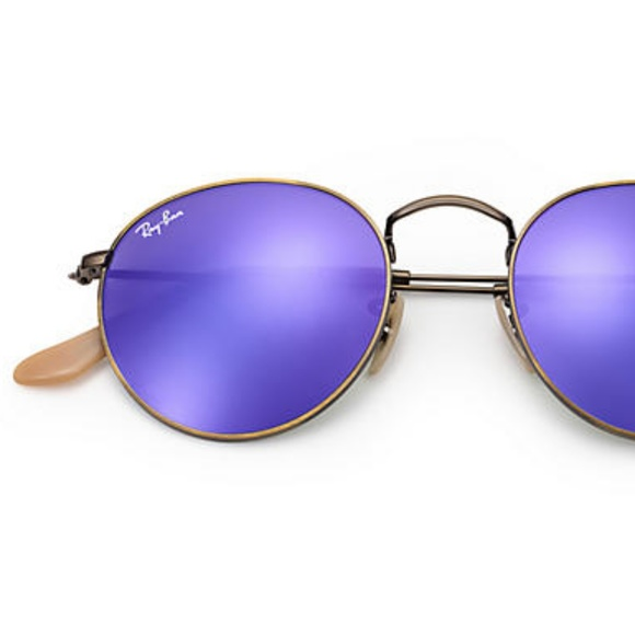 9db0882a1b8 Purple Reflector Round Ray-Ban Sunglasses + Case. M 5abd4e3631a3765b7eb757c7